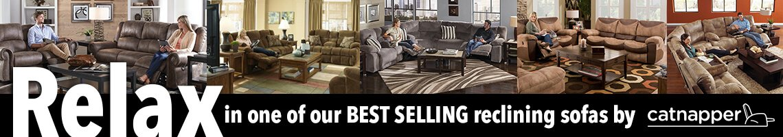 Relax in one of our best selling reclining sofas by catnapper