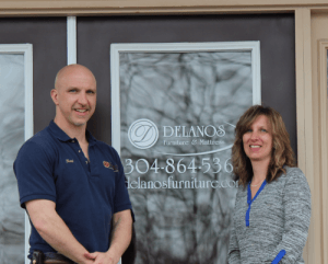 Kent and Melissa Fultz, outside their Delano's Furniture & Mattress store in Reedsville, West Virginia.