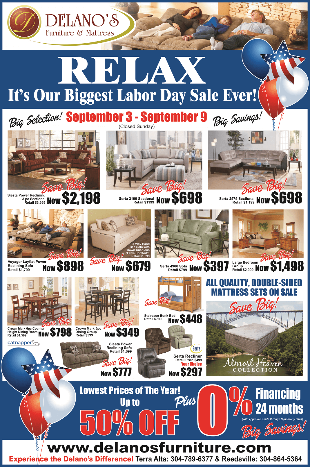 Lowest Prices of the Year - Furniture in Preston County WV