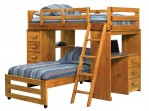 Wood Bunk Beds, Kids, Desk, Storage, Ladder