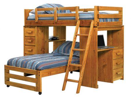Wood Bunk Beds, Kids, Desk, Storage, Ladder