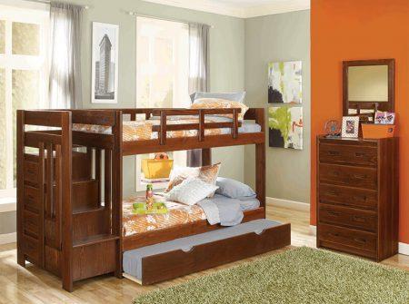 Childrenu0027s Bunk Beds   Wood  Trundel   Steps