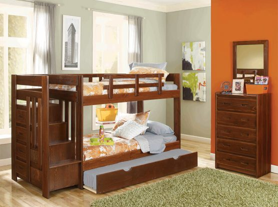 Children's Bunk Beds - Wood- Trundel - Steps
